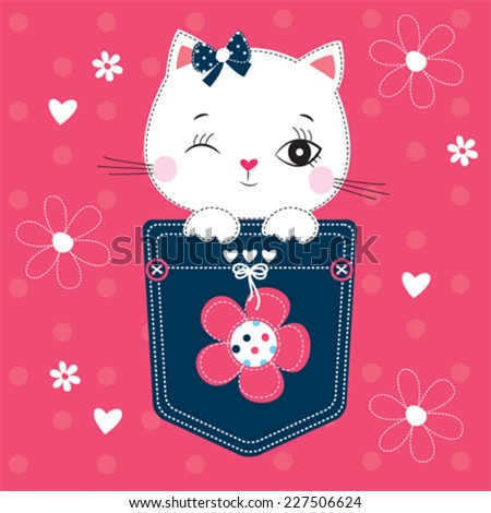 cute white cat in the pocket vector illustration - stock vector