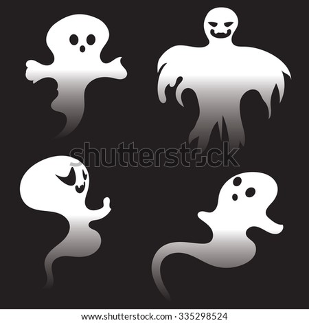 Halloween Set White Ghosts On Black Stock Vector 497466904 ...