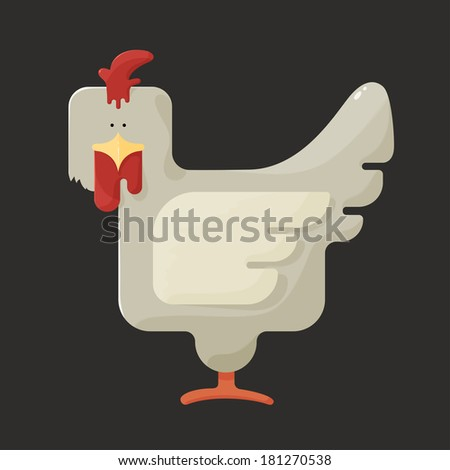 Cute white square shaped chicken with red crest, standing sideways on a dark background, stylized bird farm icon - stock vector