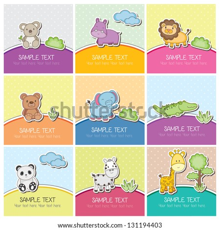 cute wild animals cards