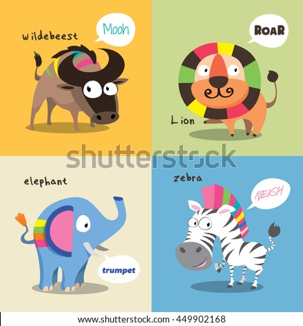 Cute wild Animals Collections with speaking bubble - stock vector