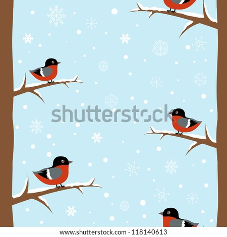 Cute winter bullfinch bird seamless pattern