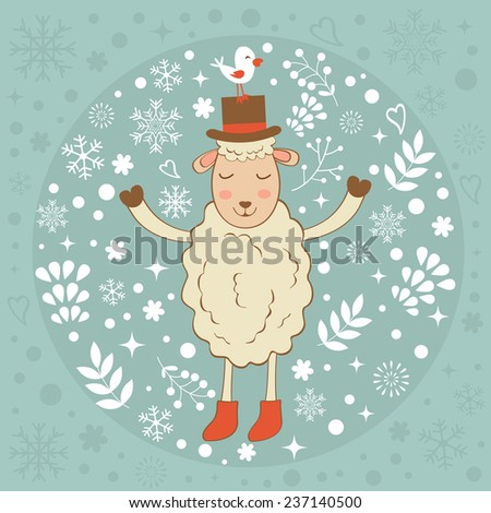 Cute winter card with sheep and bird - stock vector