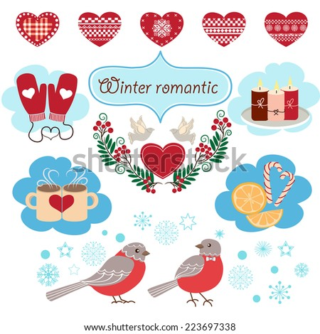 Cute winter design elements. Winter card with winter card with hearts, birds, mittens, rowan branches. - stock vector