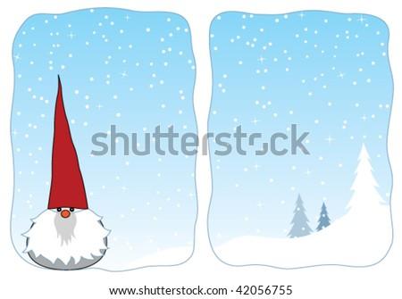 Cute winter gnome in a snowy window. - stock vector