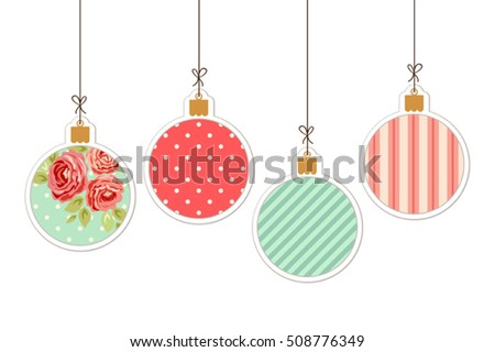 Cute Winter Holidays Vintage Background With Christmas Balls In Shabby Chic Style Hanging On Strings