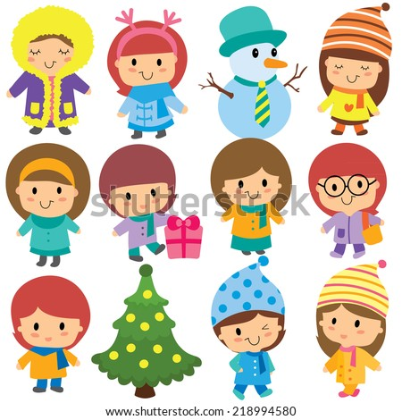 cute winter kids clip art set - stock vector