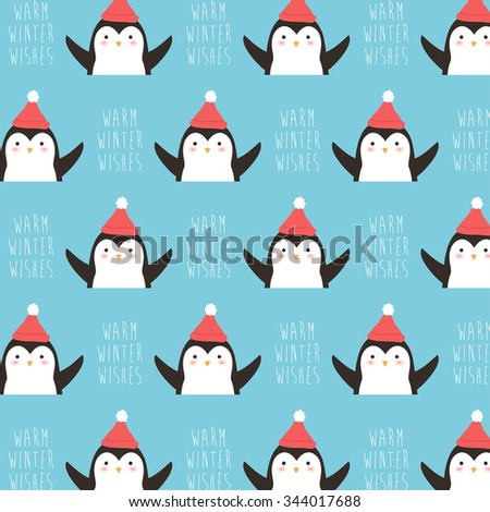 cute winter pattern with cartoon deer in hat with warm winter wishes text message on blue background. can be used like pattern for wrapping paper, textile, greeting cards and party invitations - stock vector