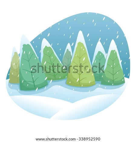 Cute Winter Tree Illustration With Snow And Sky - stock vector