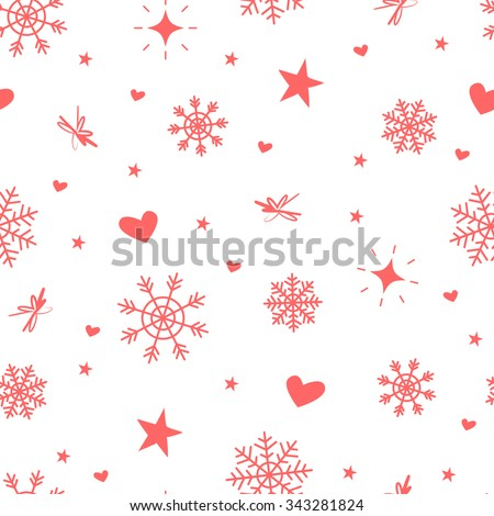 Cute winter vector seamless pattern with snowflakes, stars, hearts and sparkles. Soft red elements on white. Could be used as print for wrapping paper, textile, New Year and Christmas gift design.  - stock vector