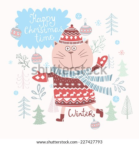 Cute Winter Wishes Card In Vector.Merry Christmas Background. Funny Cat In  Holiday Concept