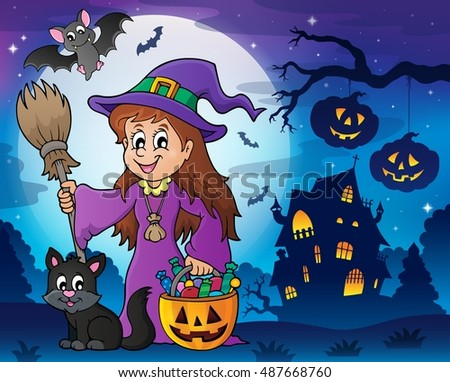 Cute witch and cat in Halloween scenery - eps10 vector illustration.