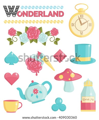 Cute wonderland magic dream illustrations set. Holiday and event decorations, design elements. Roses, potion, cards and other elements - stock vector