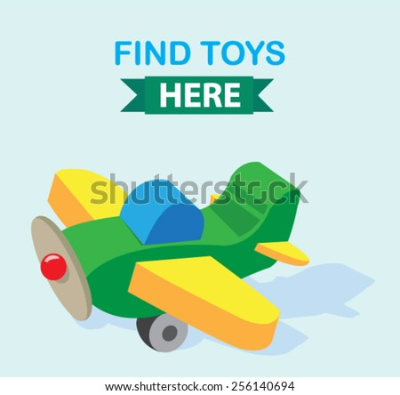 cute wooden toy airplane banner  - stock vector