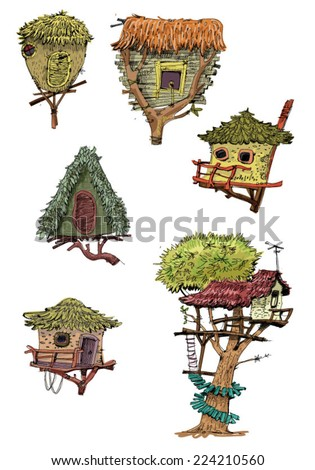 Cute wooden tree houses - cartoon - stock vector