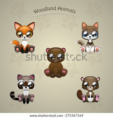 Cute woodland animals collection vector illustration art