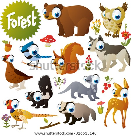 cute woodland forest animals and birds for children apps or books: bear, owl, squirrel, jay, wolf, otter, deer, badger, skunk, pheasant, grouse - stock vector