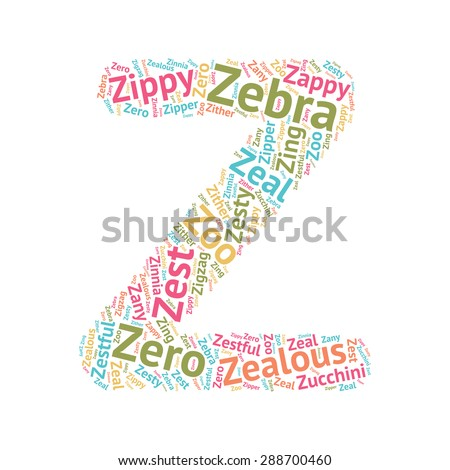 words with the letter z word cloud abc letters series stock vector 288700460 935