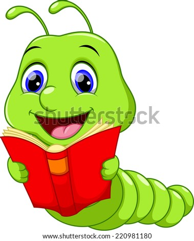 Cute Worm Reading a Book - stock vector