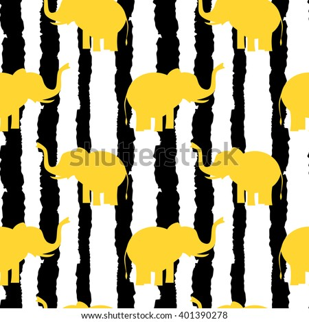 cute yellow elephants silhouette on black and white grunge stripes seamless vector pattern background illustration - stock vector