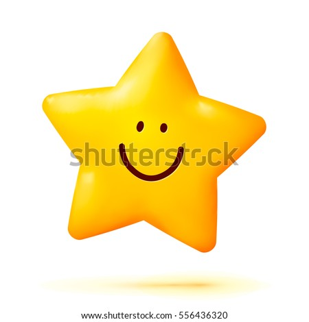 Cute yellow smiling vector little star isolated on white background