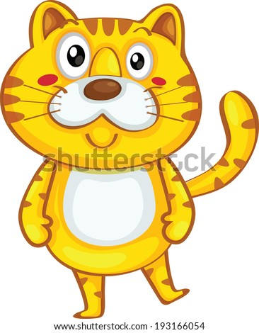 Cute yellow tiger cartoon