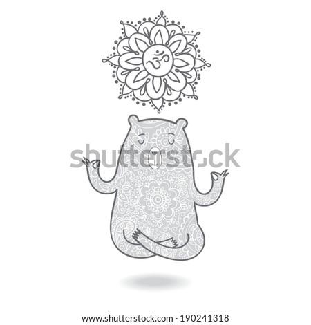 Cute yoga bear meditating in lotus position with om symbol. - stock vector