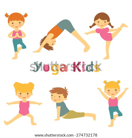 Cute yoga kids - stock vector