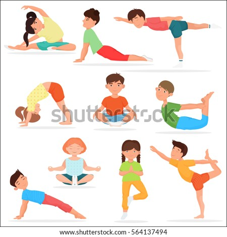 Cute yoga kids set. Children yoga gymnastics vector illustration
