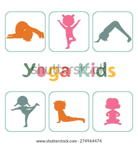 Cute yoga kids silhouettes - stock vector