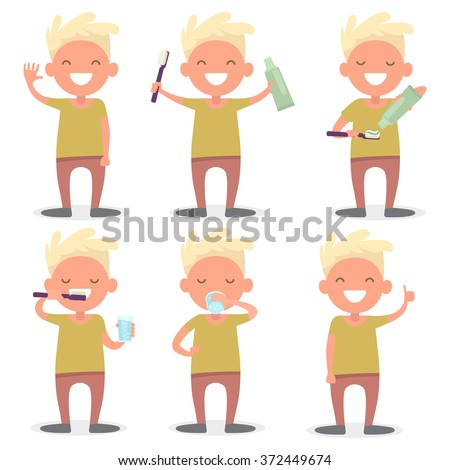 Cute young boy brushing his teeth. Procedure, a detailed guide to cleaning your teeth - stock vector