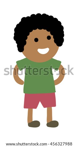 Cute young boy isolated. Small school boy stands and youth cheerful fun character. Vector character boy stands and lifestyle one beautiful stand adorable teen. - stock vector