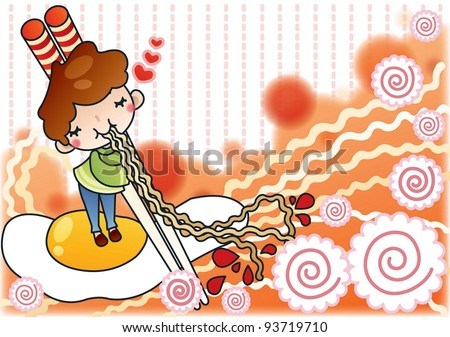 Cute Young Boy with Tasty and Spicy Ramen in a snack bar - background with spiral of 'fish cake' and noodle pattern