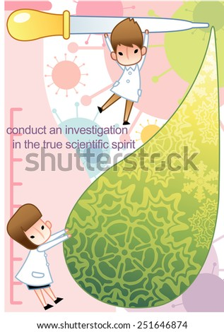 Cute young female and male Scientist examine with laboratory equipment and big green liquid drop in the chemical research lab on white background with colorful flu virus pattern : vector illustration - stock vector