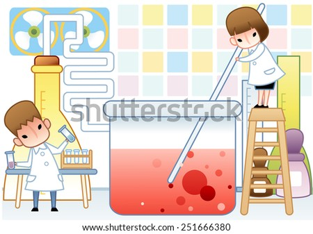 Cute young female and male Scientist examine with laboratory equipment and red liquid sample in the chemical research lab on white background with colorful square pattern : vector illustration - stock vector