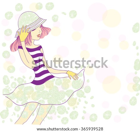 cute young girl holding a hat and laughs. vector illustration