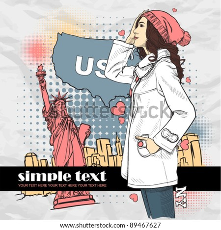 Cute young girl in sketch-style on a usa-background. Vector illustration. - stock vector