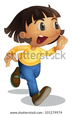 Cute young girl running on white - stock vector