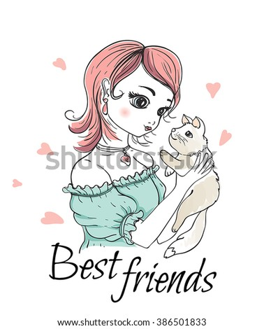 Cute  young girl with cat. Vector hand drawn illustration.