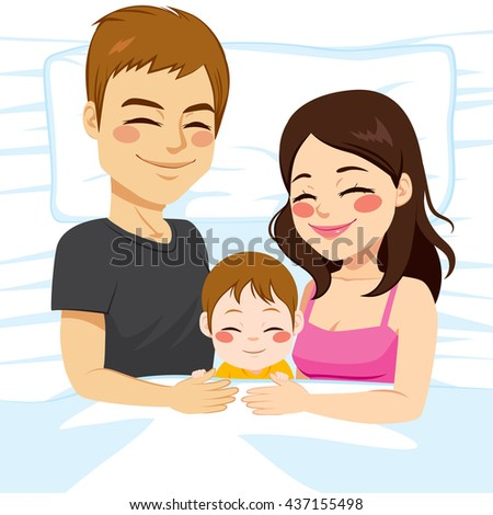 Cute young little family of father mother and baby son together sleeping - stock vector