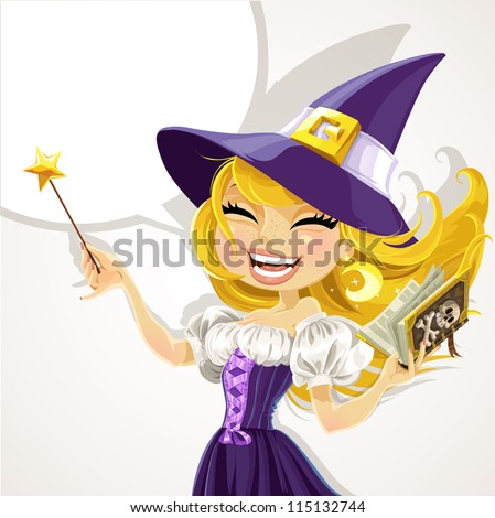 Cute young witch with magic wand and book - stock vector
