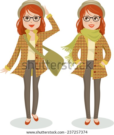 Cute young woman dressed warmly in pork-pie hat, plaid jacket and scarf in two poses. Vector illustration - stock vector