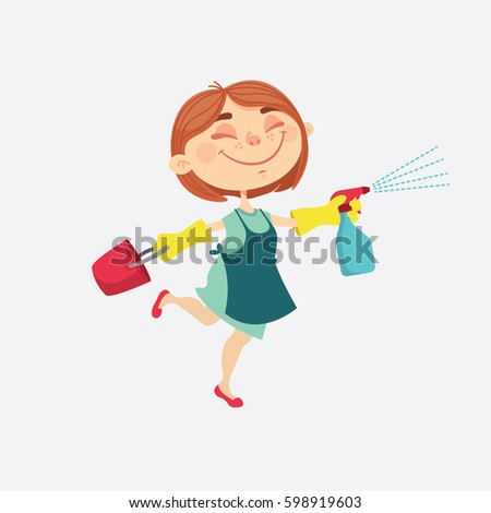 Cute Young Woman Makes Cleaning Homes Stock Vector 598919603 ...