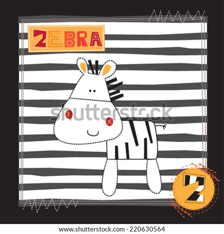 cute zebra invitation card striped background vector illustration - stock vector