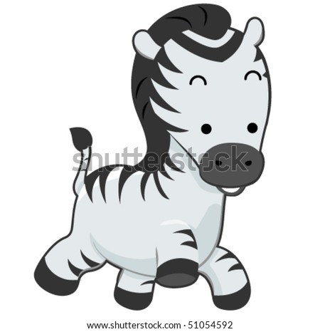 Cute Zebra - Vector