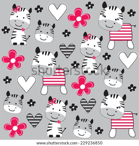 cute zebra with flowers pattern vector illustration - stock vector