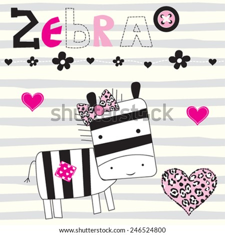 cute zebra with heart striped background vector illustration - stock vector