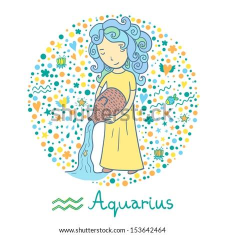 Cute zodiac sign - Aquarius. Vector illustration. Cute girl in the sea.  - stock vector