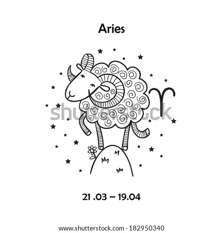 Cute zodiac sign - Aries. Vector illustration - stock vector
