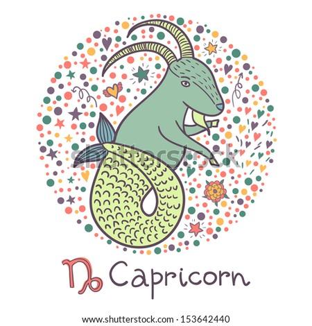 Cute zodiac sign - Capricorn. Vector illustration - stock vector